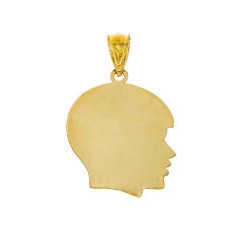 14k Yellow Gold Disc Charm Pendant, Boy Silhouette, High Polish