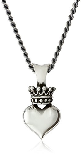 King Baby 22″ Curb Link Chain with 3D Crowned Heart Pendant Necklace
