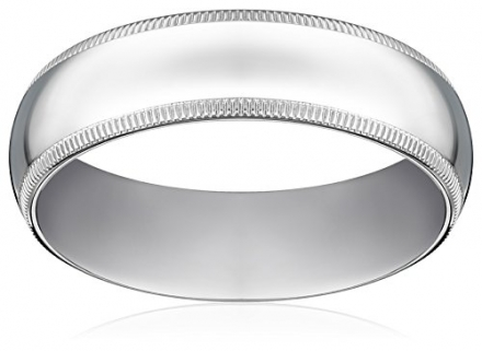 Men's 6mm 10k White Gold Comfort Fit Plain Wedding Band with Milgrain