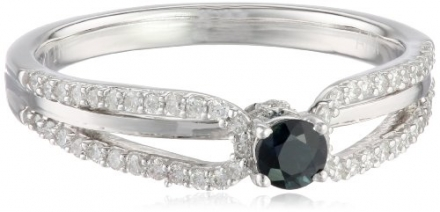 10k White Gold Blue Sapphire and Diamond Ring (1/5 cttw, H-I Color, I1-I2 Clarity), Size 6