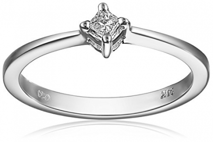 14k White Gold Princess-Cut Diamond Promise Ring (0.07 cttw, H-I Color, I2 Clarity), Size 8