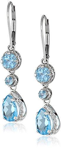 14k Gold Pear-Shape Gemstone Dangle Earrings