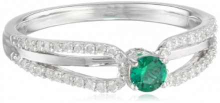 10k White Gold Created Emerald and Diamond Ring (1/5 cttw, H-I Color, I1-I2 Clarity), Size 7