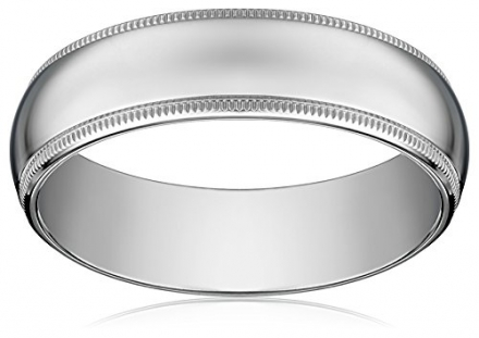 Men's 14k White Gold 6mm Comfort Fit Milgrain Plain Wedding Band