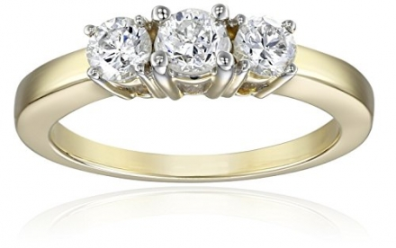 14k Yellow Gold 3-Stone Diamond Ring (3/4 cttw, I-J Color, I1-I2 Clarity), Size 8
