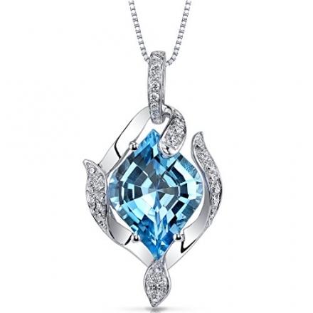 14 Karat White Gold Onion Cut 5.00 carats Swiss Blue Topaz Diamond Pendant