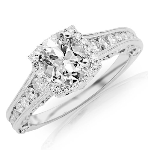 1.77 Carat GIA Certified Cushion Cut / Shape Vintage Halo Style Channel Set Round Brilliant Diamond