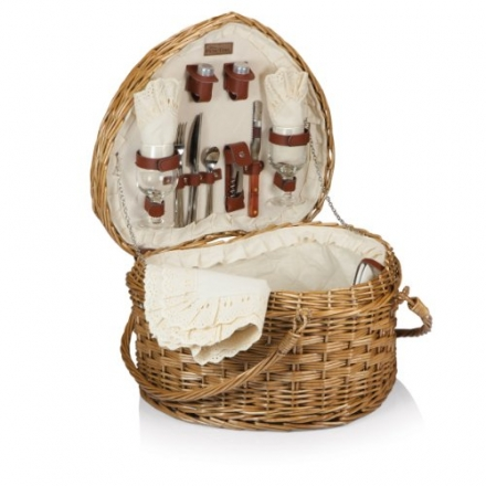 Picnic Time 329-35-190 Heart Basket – Willow with Cream Lining
