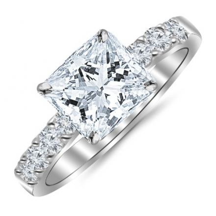 1.10 Carat Princess Cut/Shape 14K White Gold Classic Prong Set Diamond Engagement Ring with a 0.62 c