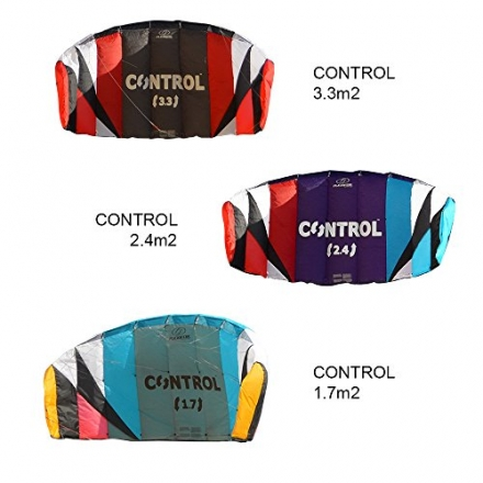 Flexifoil 1.7m2 / 2.4m2 / 3.3m2 Control 3-line Kitesurf Trainer Kite Including Bar, Lines and Quick