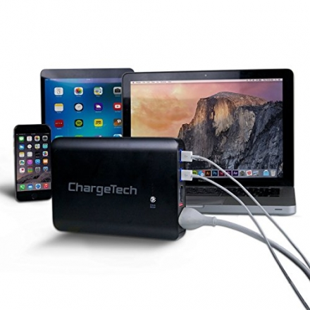 ChargeTech – 24,000mAh BLACK Portable Battery Pack w/ AC Outlet & USB Ports – Universal Power Bank f