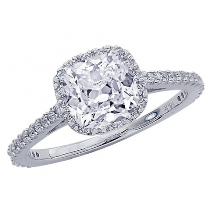 GIA Certified 1.23 Carat Cushion Cut/Shape 14K White Gold Gorgeous Classic Cushion Halo Style Diamon