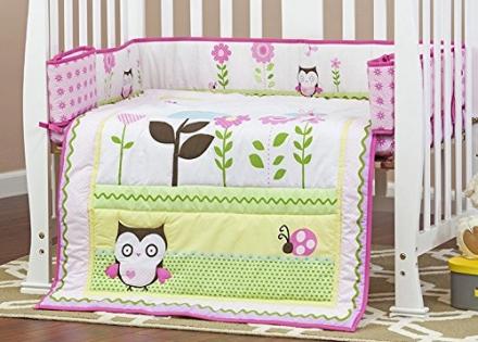 Dream On Me 3 Piece Reversible Portable Crib Bedding Set, Baby Owl