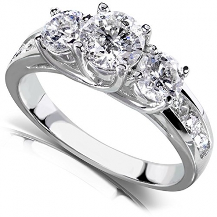 Round Brilliant Three Stone Diamond Engagement Ring 2 carats (ctw) in 14k White Gold