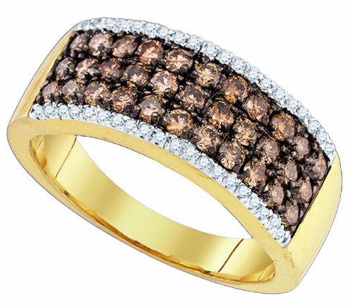 Ladies 14K Yellow Gold 1.01ct Brown Diamond Designer Engagement Ring Wedding Band
