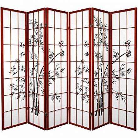 Oriental Furniture 6 ft. Tall Lucky Bamboo Shoji Screen – Rosewood – 6 Panels