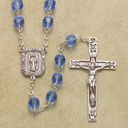 Catholic Rosary for Men or Womens, Blue Rosary with Sterling Silver Rosary September Birthstone Rosa