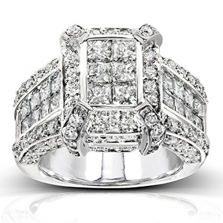 Princess Cut Diamond Engagement Ring 3 Carat (ctw) in 14k White Gold