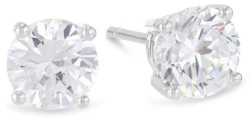 1.5 Carat Solitaire Diamond Stud Earrings Round Brilliant Shape 4 Prong Push Back (I-J Color, VS1-VS