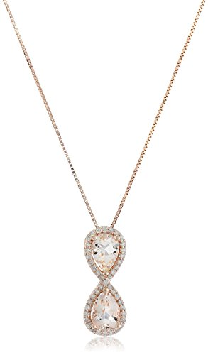 14k Pink Gold Morganite and Diamond Pear Pendant Necklace (1/10cttw, I-J Color, I3 Clarity), 18″
