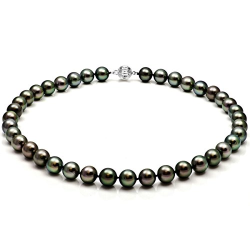 14k White Gold 8.5-11mm Black Round South Sea Tahitian Cultured Pearl Ball Clasp Necklace, 18″