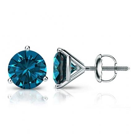 18k Gold Round Blue Diamond Stud Earrings 3-Prong Martini (1/4 – 2 ct, Blue, I1-I2) Screw Back