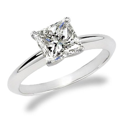 3/4 Carat Princess Cut Diamond Solitaire Engagement Ring 14K White Gold (J, I1, 0.74 c.t.w) Very Goo