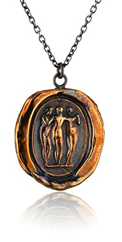 Pyrrha Bronze Three Graces Talisman Necklace, 18″