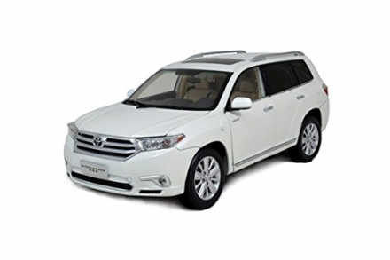 Paudi Diecast Model Car Toyota Highlander 2012 White 1:18 Scale