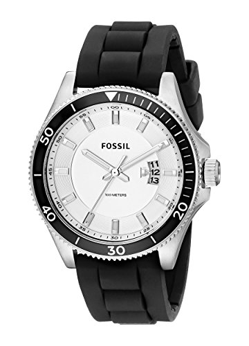 Fossil Men's FS5070 Wakefield Stainless Steel Watch with Black Silicone Band