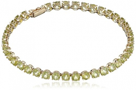 14k Yellow Gold Round Gemstone Tennis Bracelet