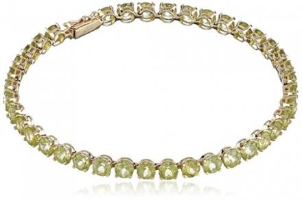 14k Yellow Gold Round Gemstone Tennis Bracelet