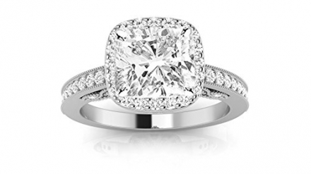 0.85 Carat GIA Certified Cushion-Cut Cushion Halo Milgrain Diamond Engagement Ring (G-H Color VVS1-V