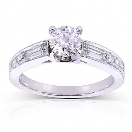 Round Diamond Engagement Ring 1 Carat in 14k White Gold