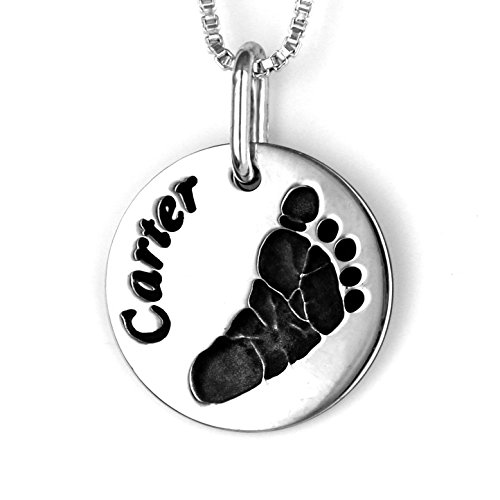 Custom Footprint, Handprint, Fingerprint, Signature or Drawing Keepsake by Tiny-Footprints – Silver