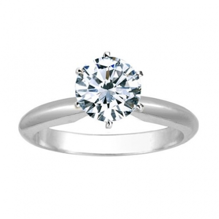 1/2 Carat Round Cut Diamond Solitaire Engagement Ring Platinum 6 Prong (K, VS2-SI1, 0.5 c.t.w) Very