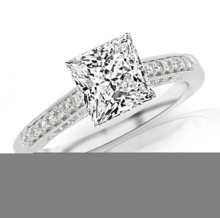 0.51 Carat Princess Cut Classic Designer Pave Set Diamond Engagement Ring with Milgrain (G-H Color,