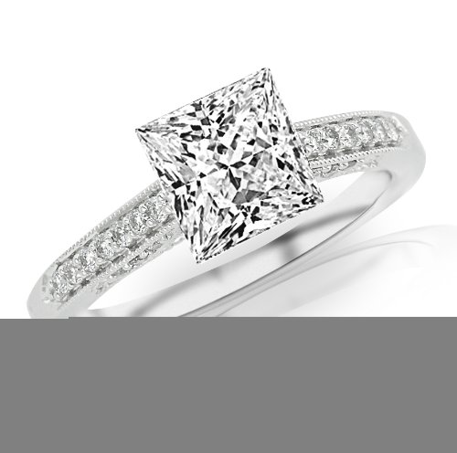 0.51 Carat Princess Cut Classic Designer Pave Set Diamond Engagement Ring with Milgrain (G-H Color,