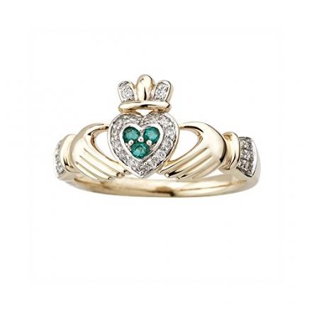 Claddagh Ring 14K Gold Diamond & Emerald Made in Ireland