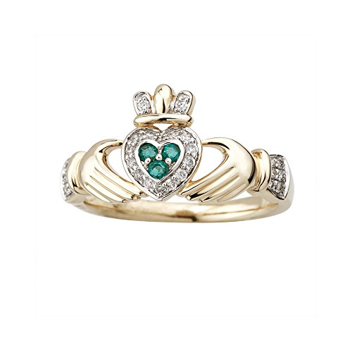 Claddagh Ring 14K Gold Diamond & Emerald Made in Ireland