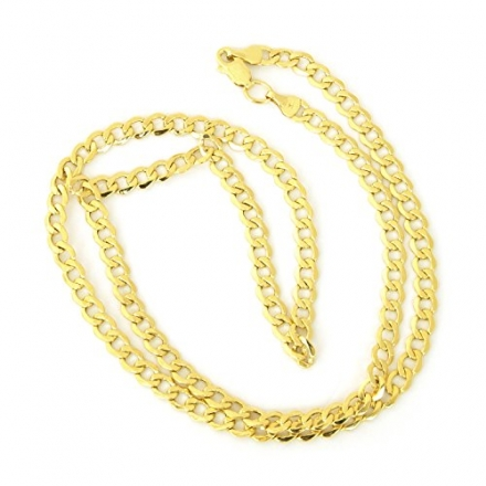 10k Yellow Gold Semi-solid Curb Chain Mens 4.4mm wide Necklace (18″, 20″,22″ or 24″)