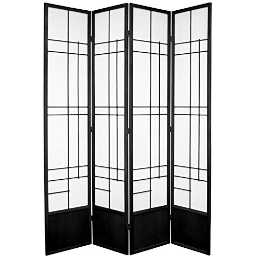 Oriental Furniture 7 ft. Tall Eudes Shoji Screen – Black – 4 Panels