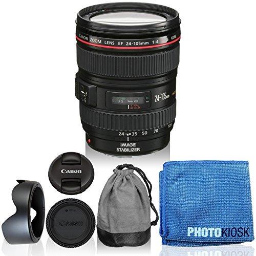 Canon EF 24-105mm f/4L IS USM Zoom Lens (White Box) Kit for Canon EOS 7D, 5D Mark III, 6D, 7D Mark I