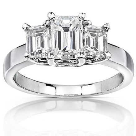 Emerald-cut Moissanite Three-stone Engagement Ring 2 3/4 Carat (ctw) in 14k White Gold