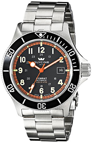 Glycine Men's 3908-19ATN-1 Combat Sub-Automatic Stainless Steel Watch with Triple-Link Bracelet