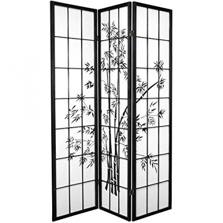 Oriental Furniture 6 ft. Tall Lucky Bamboo Shoji Screen – Black – 3 Panels