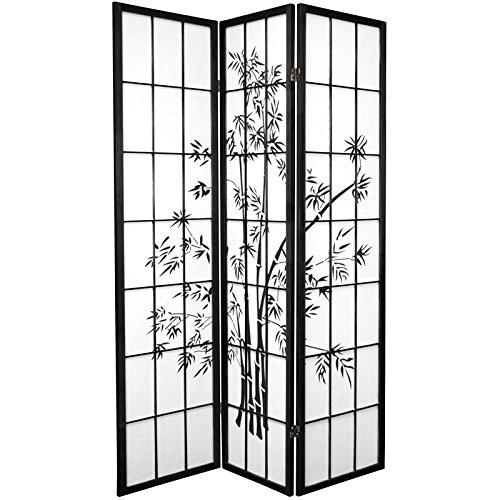 Oriental Furniture 6 ft. Tall Lucky Bamboo Shoji Screen – Black – 3 Panels