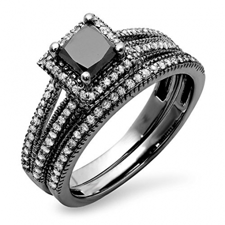 1.35 Carat (ctw) Black Rhodium Plated 14K White Gold Princess & Round Diamond Halo Engagement Ring S