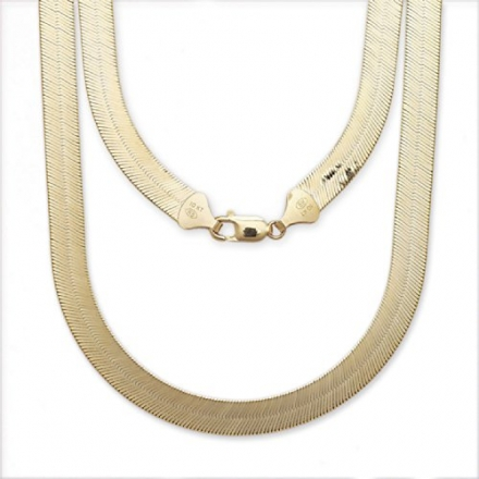 Super Flexible Silky Herringbone Chain Necklace – 10k – 0.5″ (12mm) (All Sizes)