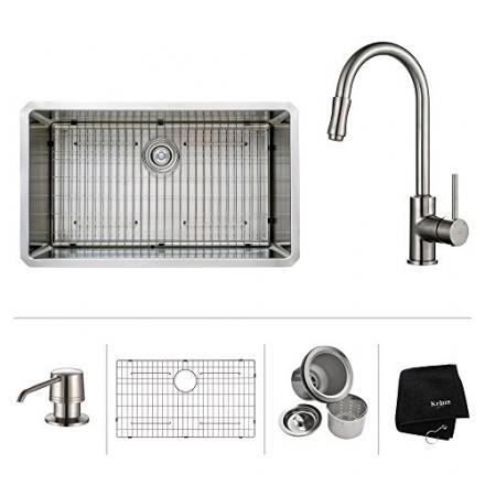 Kraus KHU100-32-KPF1622-KSD30SN 32 inch Undermount Single Bowl Stainless Steel Kitchen Sink with Sat